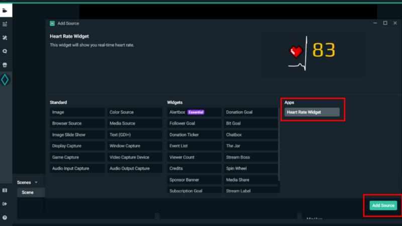 Add Heart Rate widget source to Streamlabs OBS scene