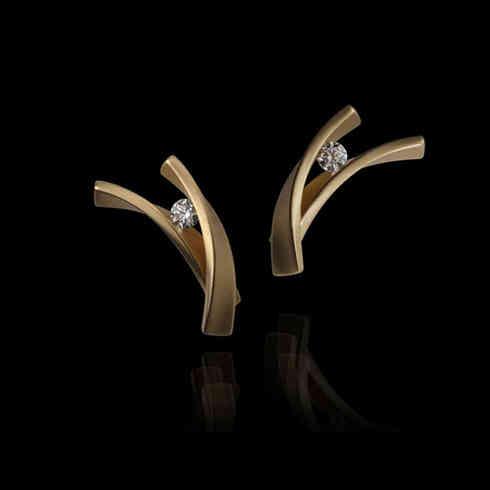 Earrings | gold, diamond
