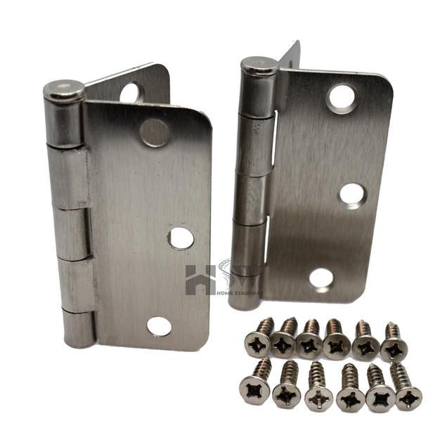 """1/4"""" RC Satin Nickel Hinges with screws"""
