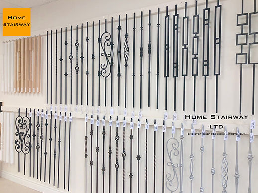 Iron baluster, more than 50 designs. brought to you by Home Stairway Ajax. Plain bar, Single twisted, Double twisted, basket design, collar design, spoon design, modern metal baluster, Scroll baluster, picket