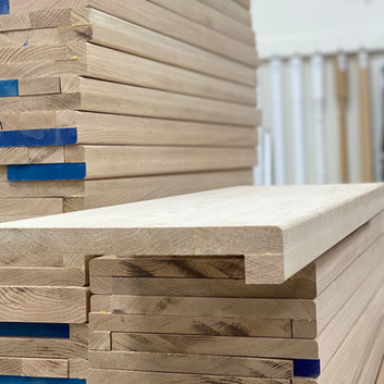 A) Solid oak tread/cap