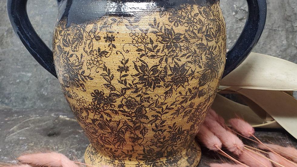 Black Victorian Floral Vase