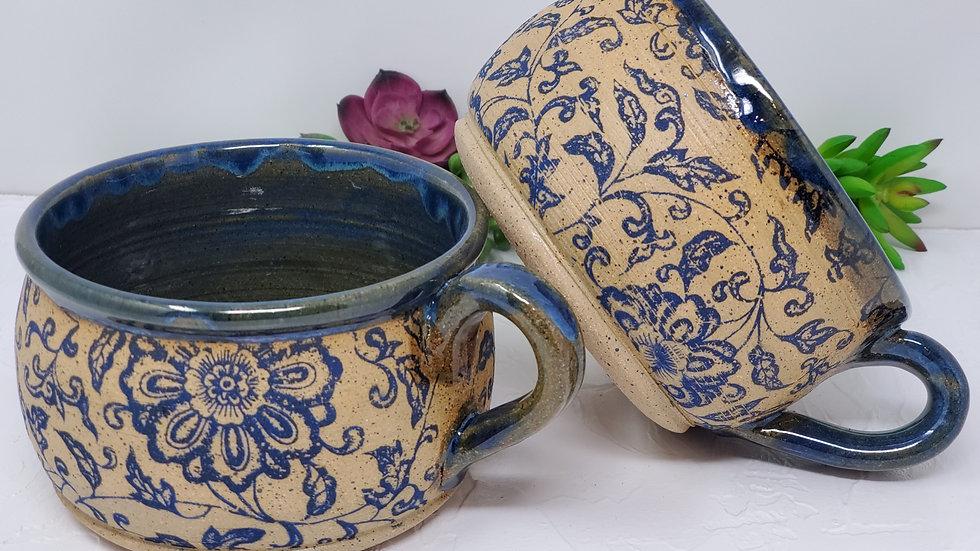 Rustic Victorian Blue Floral Soup Bowl