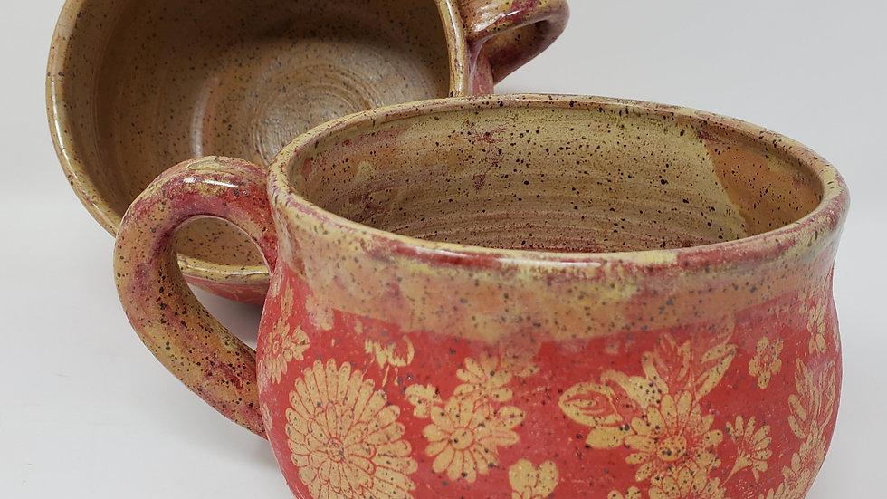 Primitive Victorian Soup Bowl (Scarlet Floral)