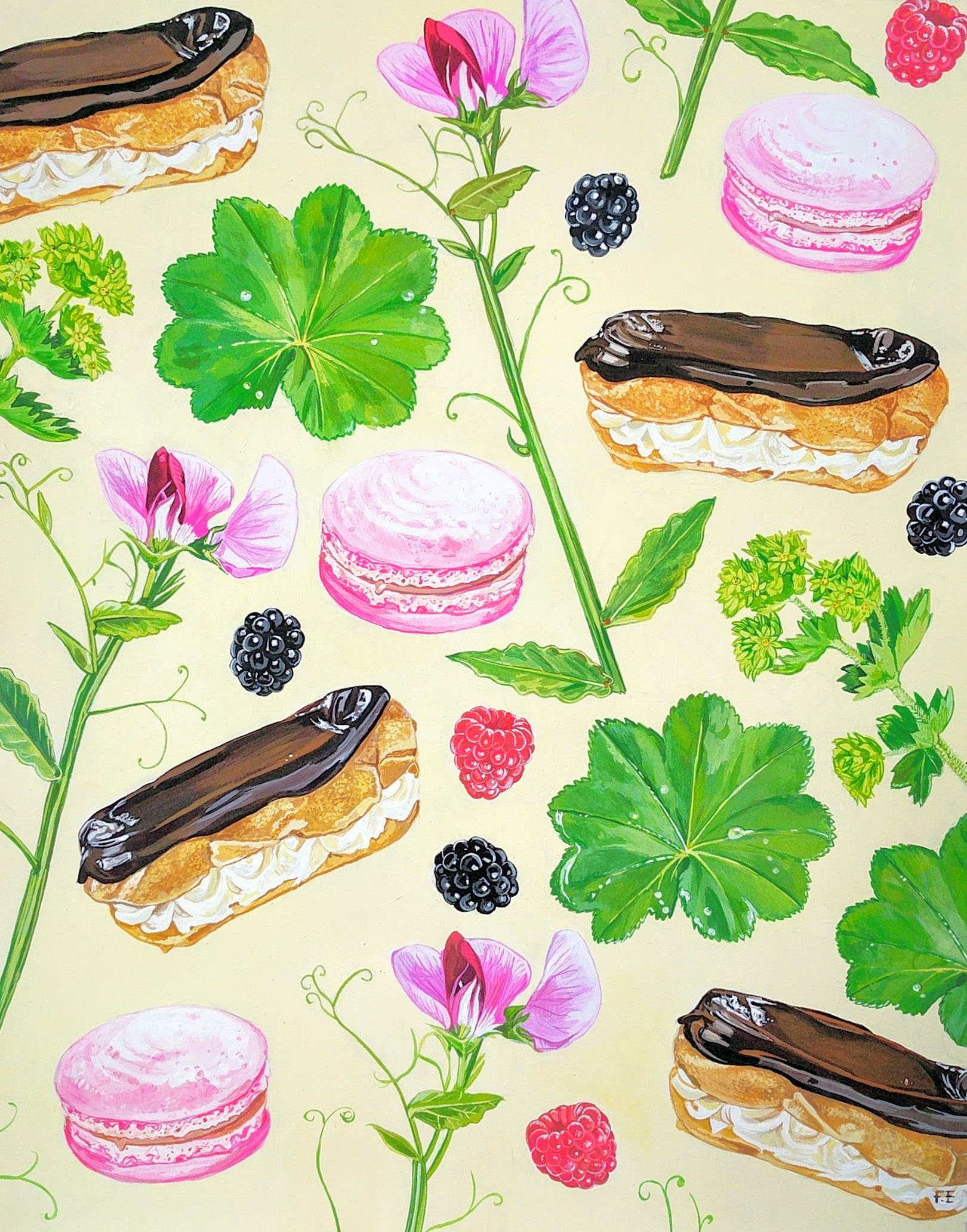 Eclairs, Sweet Peas and Alchemilla.