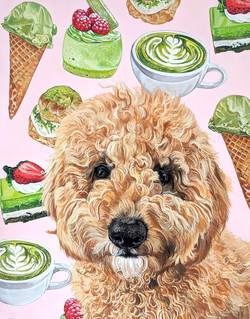 Matcha with matcha themed patterned background