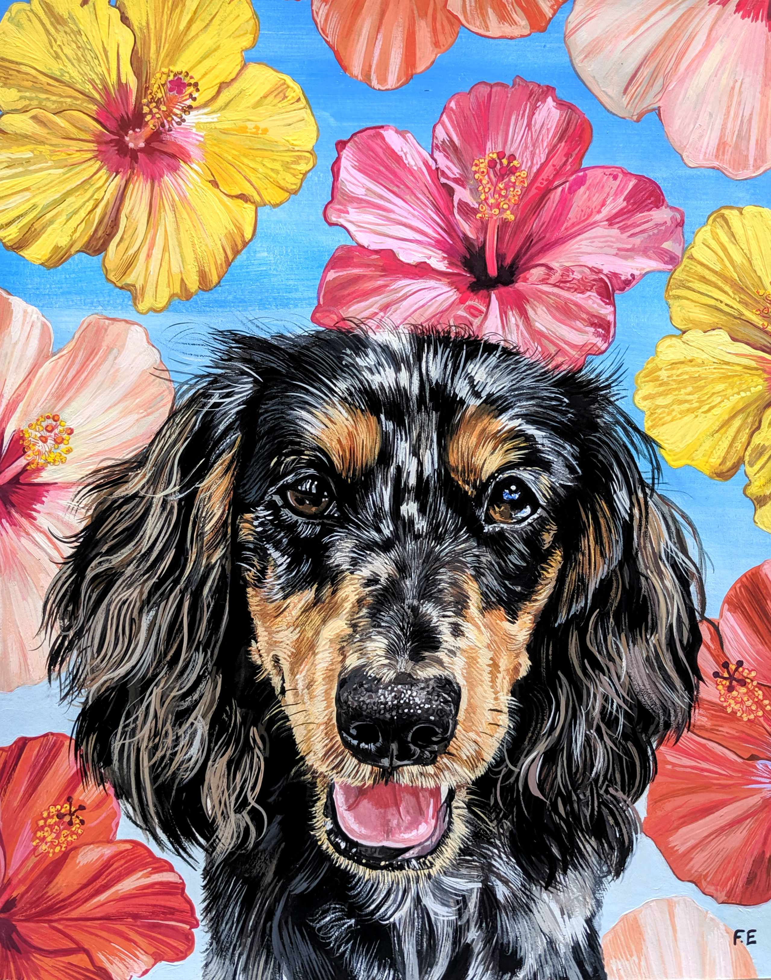 Daschund with Hibiscus background