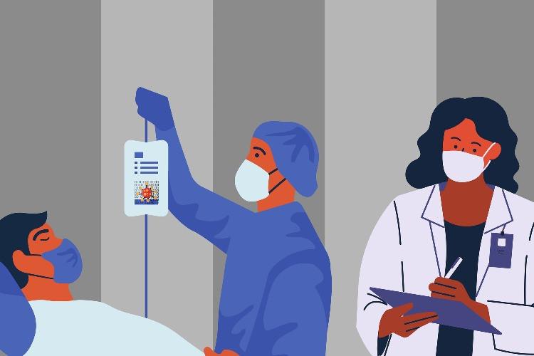 Equipe sanitaria multidisciplinare alle prese con una malato Covid-19
