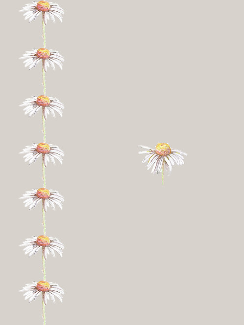 Daisy Chain & Dot - on Stone Linen