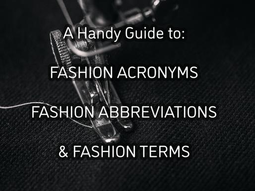Fashion Acronyms, Fashion Abbreviations, Fashion Terminology