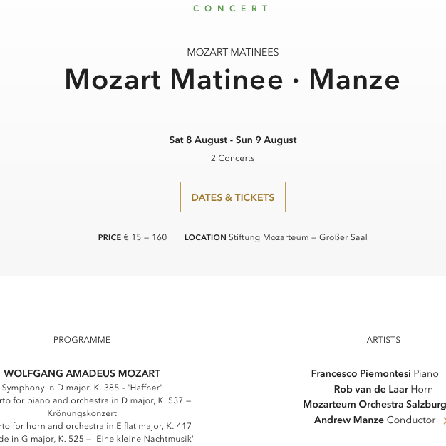 Mozart-Matinee // Manze - van de Laar - Piemontesi