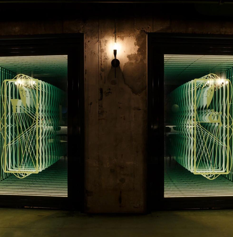 Infinity mirror doors