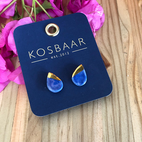 Porcelain tear drop studs - Navy and 18kt gold