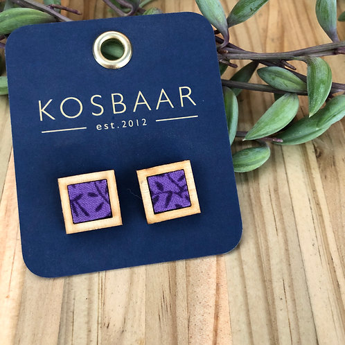 HOUDT Square studs - purple with flowers