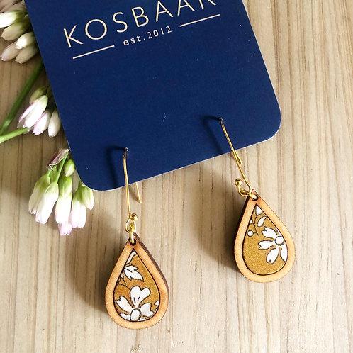 HOUDT Raindrop Earrings - Mustard with white flowersered flowers(silver)