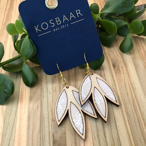 Timber & Fabric Falling Leaves earrings - White on white
