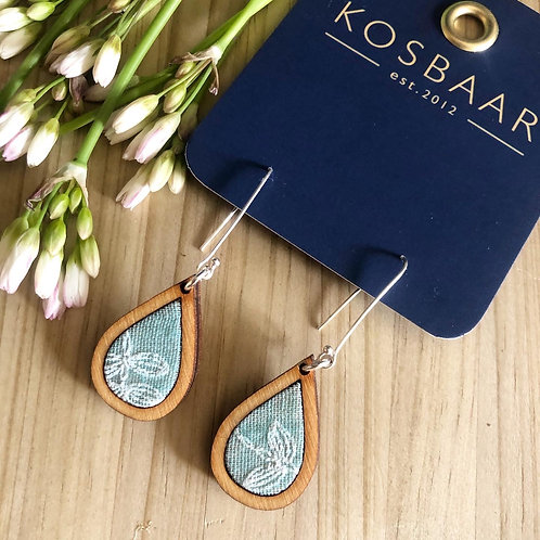 HOUDT Raindrop Earrings - Aqua with white embroidered flowers(silver)