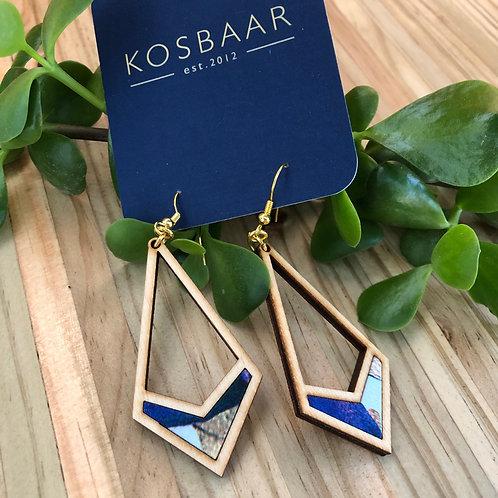 Timber & Fabric geometric drop earrings - Blue fabric