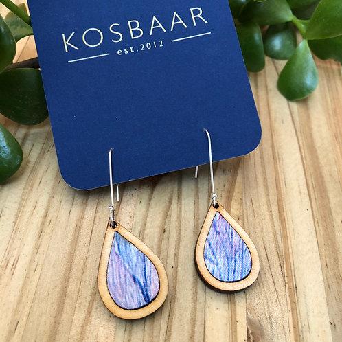 Timber & Fabric Small Teardrop earrings - Watercolour fabric