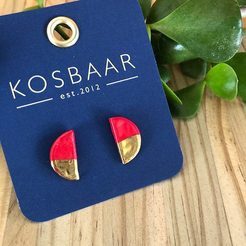 Porcelain half moon studs - Red with 18kt gold