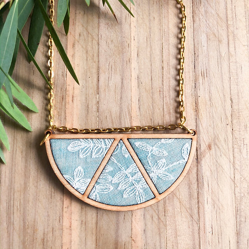 Timber & Fabric Half moon necklace - Light blue with embroidery