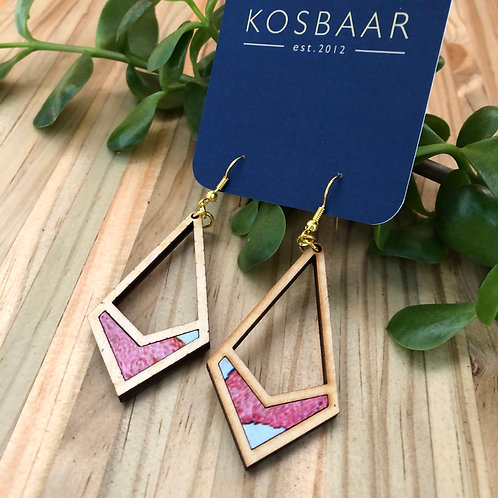 Timber & Fabric geometric drop earrings - Watercolour pink fabric