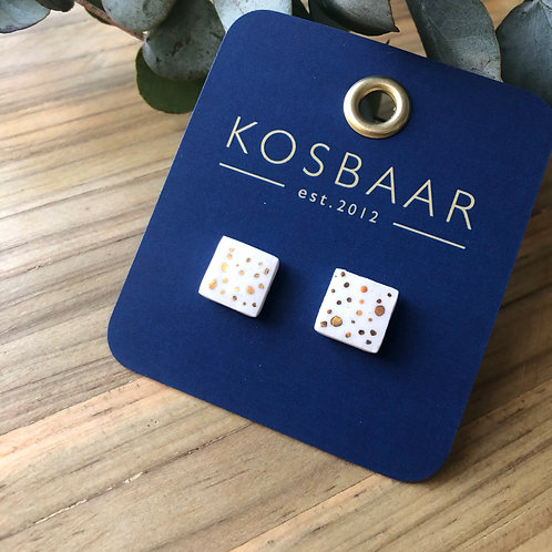 Porcelain square studs - White and 18kt gold dots