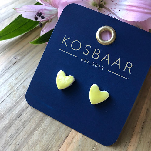 KERAMIEK Yellow heart studs