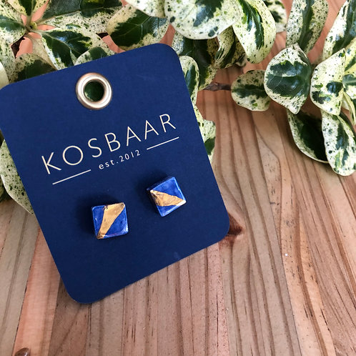 Porcelain square studs - Navy and 18kt gold