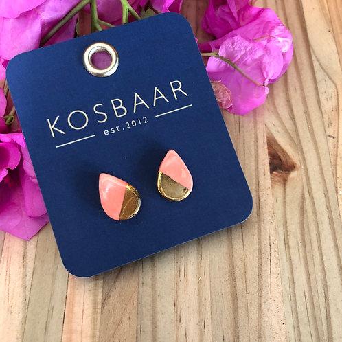 Porcelain tear drop studs - Salmon pink and 18kt gold