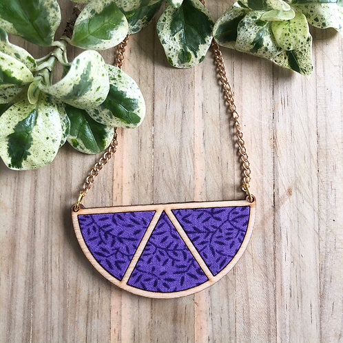 Timber & Fabric Half moon necklace - Purple leaves
