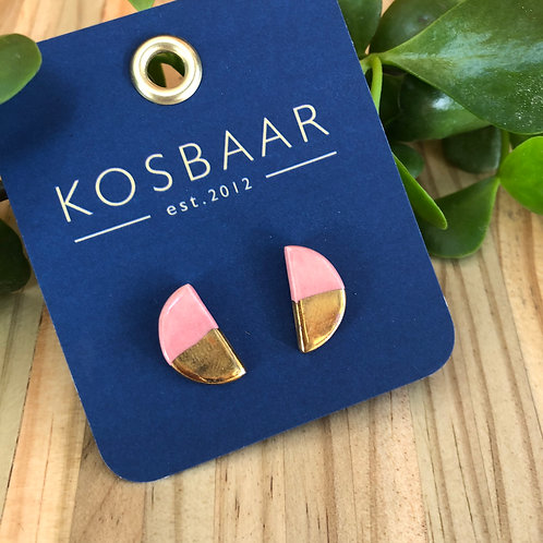 Porcelain half moon studs - Dusty Pink with 18kt gold