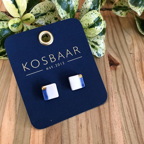 Porcelain square studs - White with Navy stripe and 18kt gold