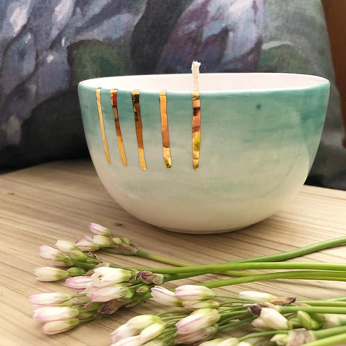 Hand poured Soy candle - aqua with 18kt gold stripes