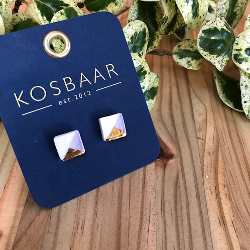 Porcelain square studs - White with Light purple and 18kt gold