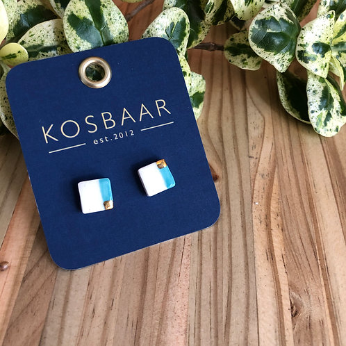 Porcelain square studs - White with Aqua stripe and 18kt gold