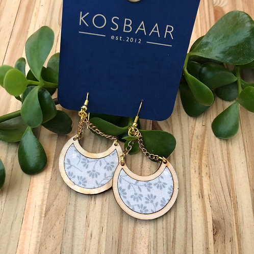 Timber & Fabric Half Moon Earrings - grey floral