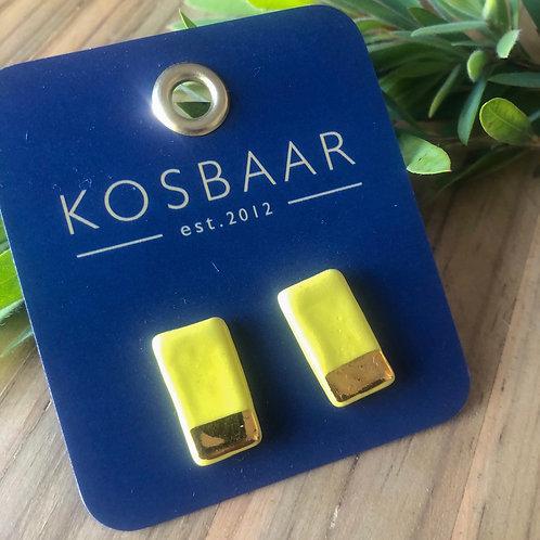 KERAMIEK Yellow & 18kt gold rectangular studs