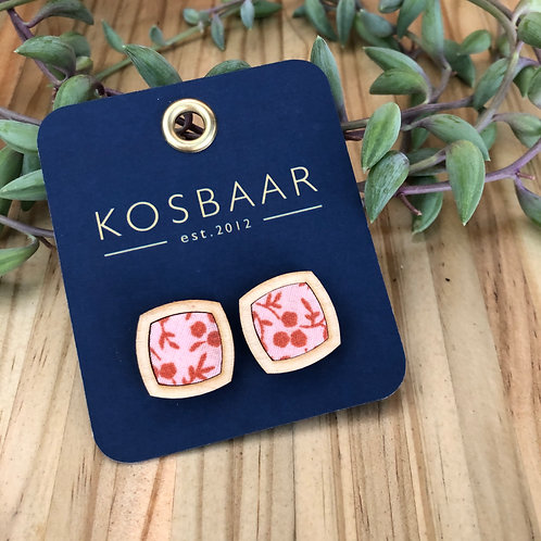 Timber & Fabric rounded edge studs - Pink with red pattern