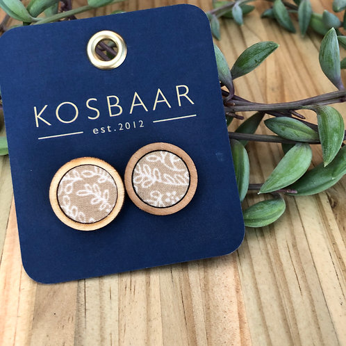 Timber & Fabric Medium round studs - Sand with leaf pattern