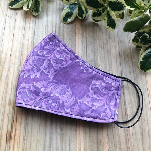 Fabric Mask - Purple Scroll