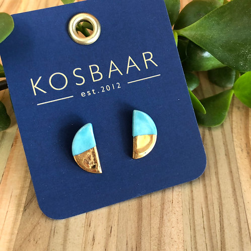 Porcelain Half Moon studs - Aqua with 18kt gold
