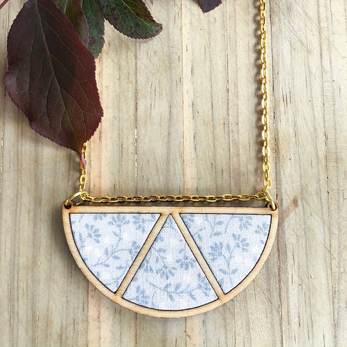 Timber & Fabric Half moon necklace - Pale grey tiny leaves