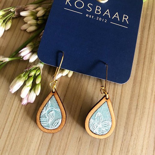 HOUDT Raindrop Earrings - Aqua with white embroidered flowers