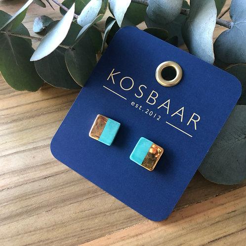 Porcelain square studs - Light blue and 18kt gold
