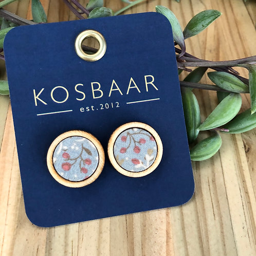 Timber & Fabric Medium round studs -Blue with floral