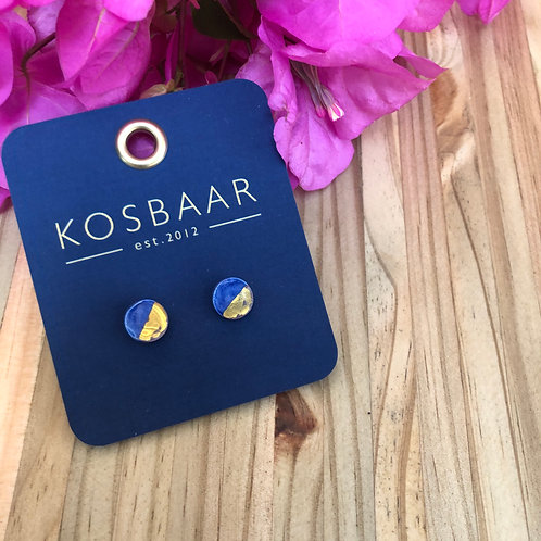 Porcelain Mini Round Stud - Navy with 18kt Gold