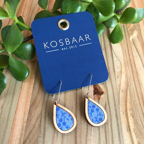 Timber & Fabric Small Teardrop earrings - Blue tiny floral