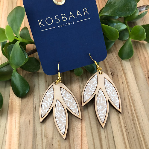 Timber & Fabric Falling Leaves earrings -White on neutral