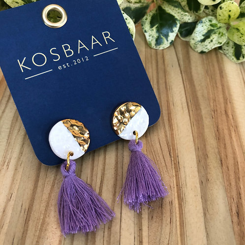 Porcelain Medium Round Stud - White and 18kt Gold with tassle